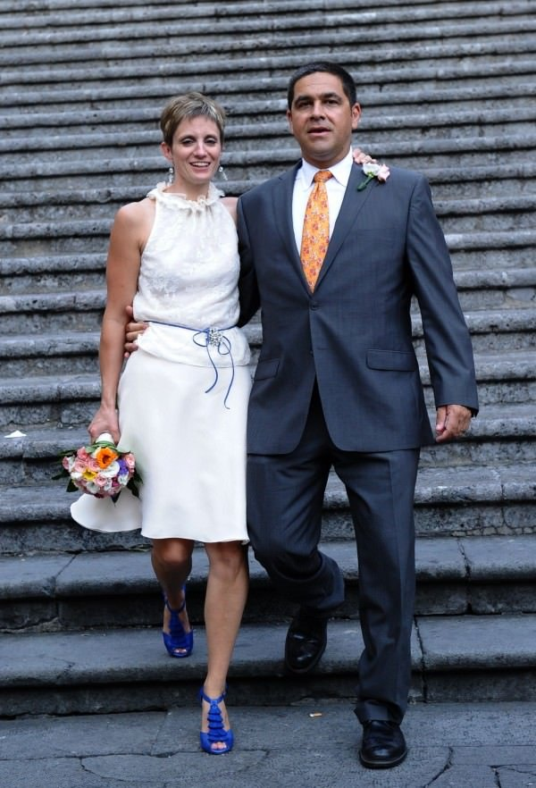 Amy's two-piece wedding ensemble was perfect for her destination wedding in Europe. And both pieces can be worn again!