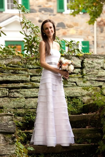 Bride Nicola wears a simple, sophisticated wedding dress created by Janice Martin Couture.