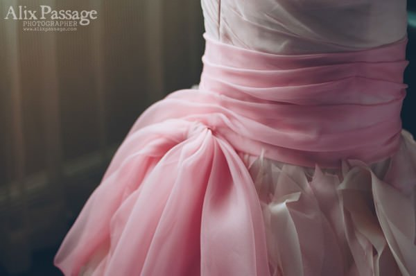 A detail of the gorgeous pink hues chosen for Katelyn's gown.
