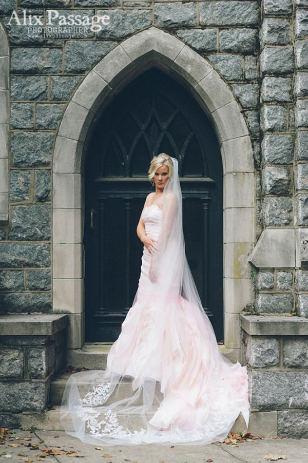 Katelyn is a vision in pink in her couture wedding gown and custom wedding veil.