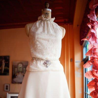 Lace Top & Short Skirt Wedding Ensemble