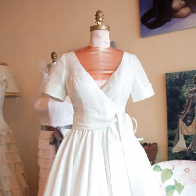 Short Wrap Wedding Dress
