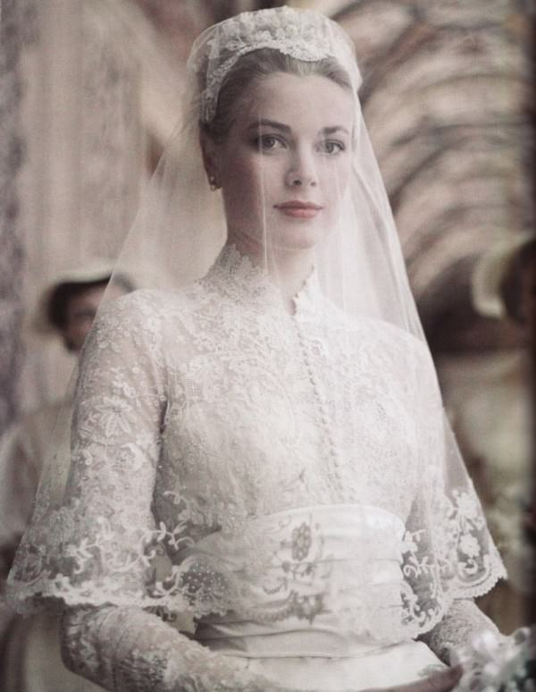 Perhaps the most iconic bride, Princess Grace of Monaco shown here on her wedding day.