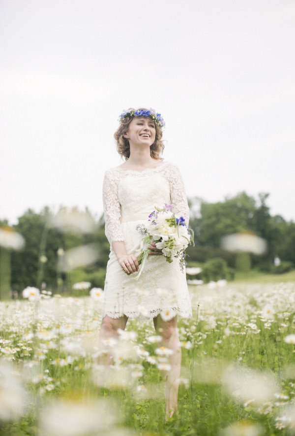 Bride Eleanor is a Bohemian dream in her custom short wedding dress.