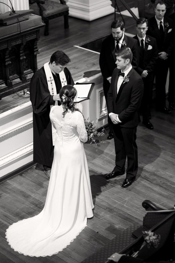 This photograph shows a wonderful view of the back of Erin's gown.