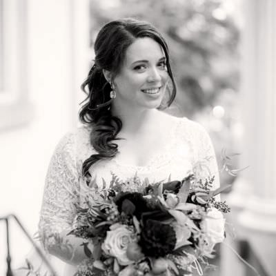 Long-Sleeved Lace Wedding Gown