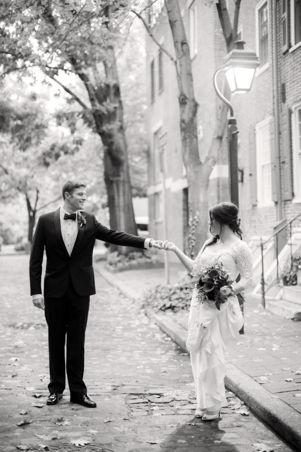 The bride and groom were married in downtown Philadelphia.