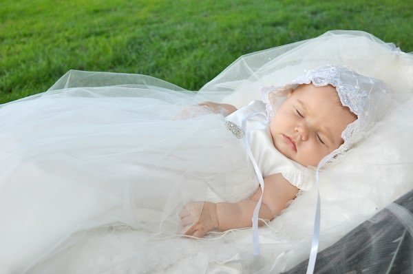 Christening Gowns can be created from a family heirloom like a mother's or grandmother's wedding dress.