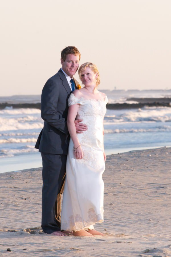 The gown was reconstructed with a new neckline for the bride to wear at her beach wedding.