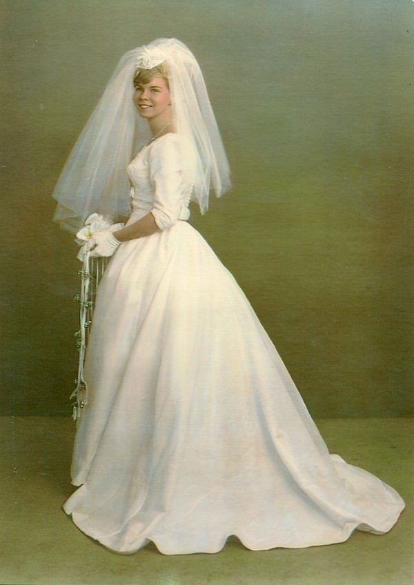 The bride's mother on her wedding day in the original silhouette.