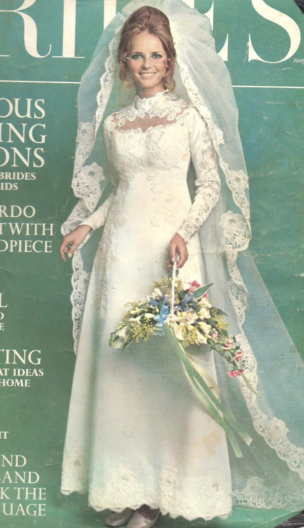 The original gown shown here on the cover of Brides magazine in the 1970s.