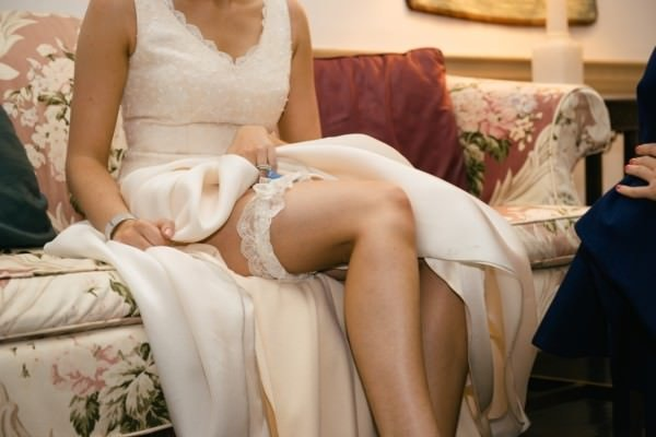 Janice Martin also created a garter belt for the bride created from scraps of lace from the original dress.