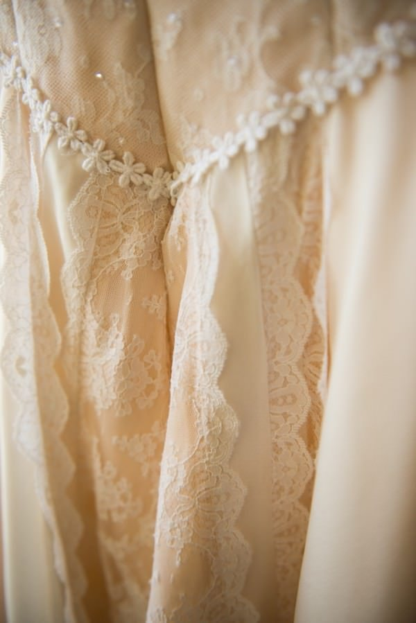 The base of Allison's wedding dress is a new, pale peach silk organza.