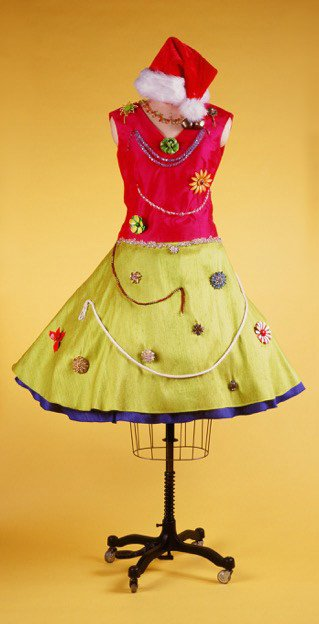 Festive holiday dress designed in Sewn for Good fabrics from Cambodia - Tabitha Foundation fundraiser